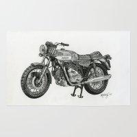 motorbike Area & Throw Rugs featuring Stippled Motorbike  by Rachael Kotvojs