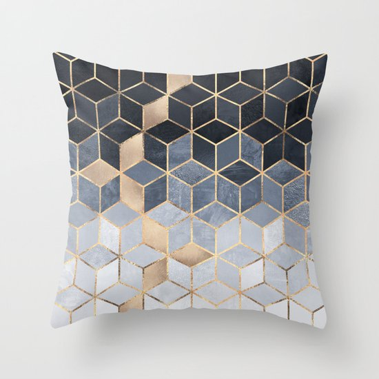 Soft Blue Gradient Cubes Throw Pillow By Elisabeth