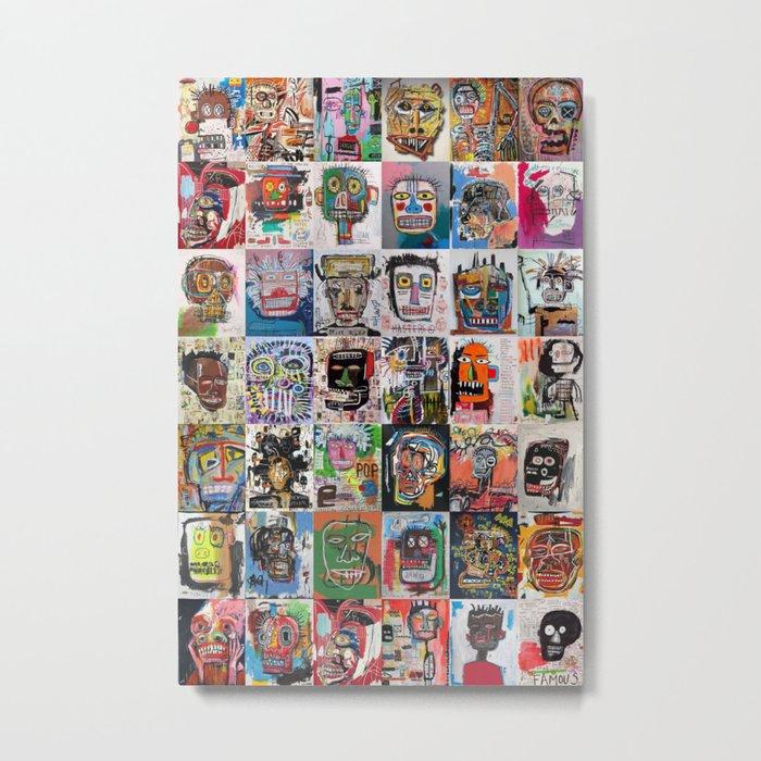 Basquiat Faces Montage Metal Print