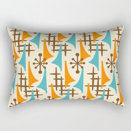 Retro Mid Century Modern Atomic Wing Pattern 422 Brown Orange and Turquoise Rectangular Pillow