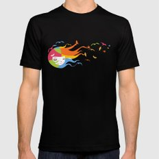 Birds Color MEDIUM Mens Fitted Tee Black