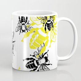 Black and Yellow Buzzing Bees Pattern Bugs Insects Theme Coffee Mug