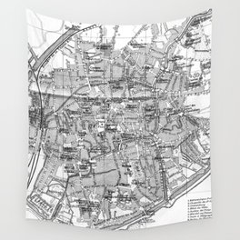 Vintage Map of Bruges (1905) BW Wall Tapestry