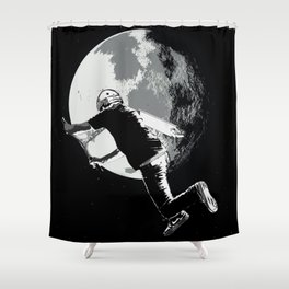 Tailing the Moon - Tail-whip Scooter Stunt Shower Curtain