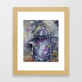 Hand Painted Galaxy Tea Kettle Framed Art Print