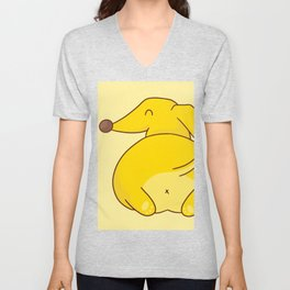 Funny Cute Dog Yellow Dachsund Butt Unisex V-Neck