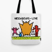 keith haring Tote Bags featuring Keith Haring & The neighbours by le.duc