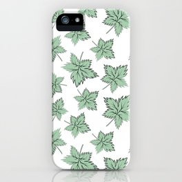 Green maple leaves iPhone Case