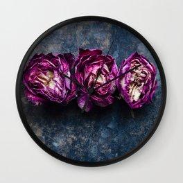 Three Rose Buds Wall Clock