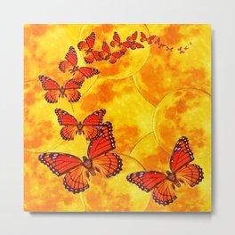 Golden Migration Monarch Butterflies Metal Print