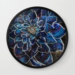 Blue Dahlia Wall Clock