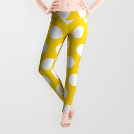 Yellow and White Polka Dots 772 Leggings