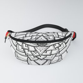 Red Black and White Geometric Flower Fanny Pack