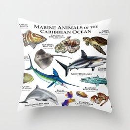 Marine Animals of the Caribbean Ocean Throw Pillow