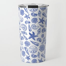 Blue Seashell Print Travel Mug