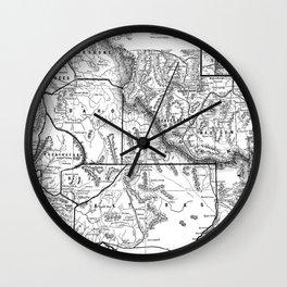 Vintage Map of Idaho (1883) BW Wall Clock