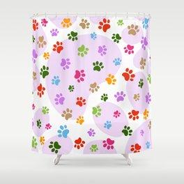 Colorful Dog paw pattern. Digital illustration. Shower Curtain