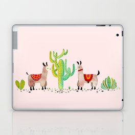 Cute alpacas with pink background Laptop & iPad Skin