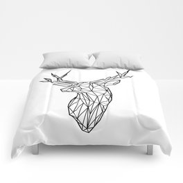 Black Line Faceted Stag Trophy Head Comforters