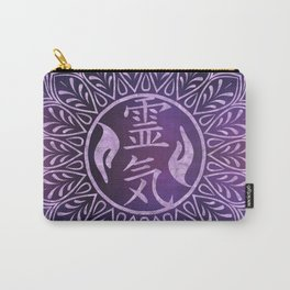 Reiki Symbols and healing hands on purple light Carry-All Pouch