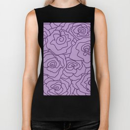 Lavender Dreams Roses - Light with Dark Outline - Color Therapy Biker Tank