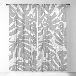 Monstera deliciosa Minimalistic black and white Sheer Curtain