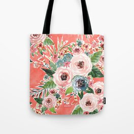 GONE FLORAL Coral Rose Print Tote Bag