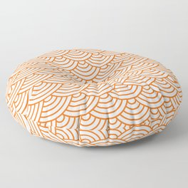 Orange Japanese wave pattern Floor Pillow