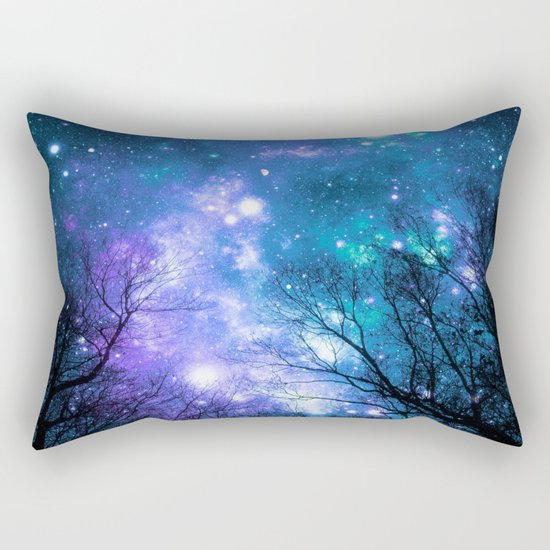 Black Trees Violet Teal Space Rectangular Pillow
