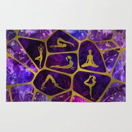 Yoga Asanas in gold on Amethyst Voronoi diagram Rug