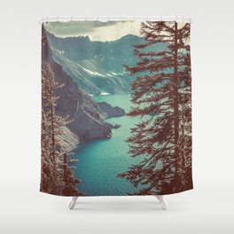 Vintage Blue Crater Lake and Trees - Nature Photography Shower Curtain