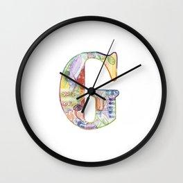 Letter G - Watercolor Monogram - Colorful Lettering - Watercolor Letter Print - Watercolor Initial Wall Clock