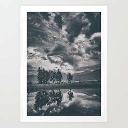 Black and white lake Art Print