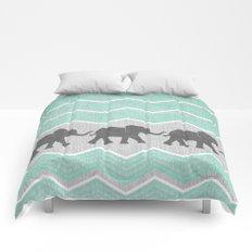 Three Elephants - Teal and White Chevron on Grey Comforters