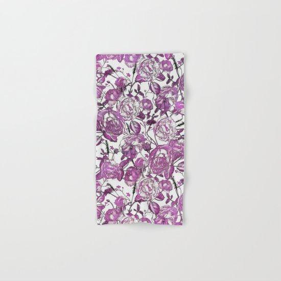 Purple Vintage Retro Flower Pattern Hand & Bath Towel