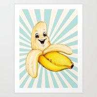 banana Art Prints featuring Banana by Kelly Gilleran