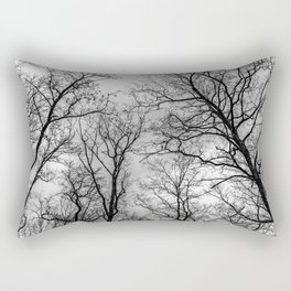 Flying tree branches, black and white Rectangular Pillow