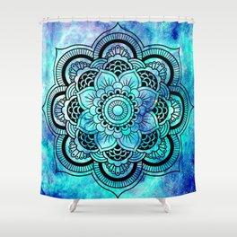 Galaxy Mandala Aqua Indigo Shower Curtain