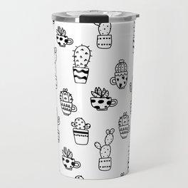 Black and White Seamless Cactus pots pattern Travel Mug