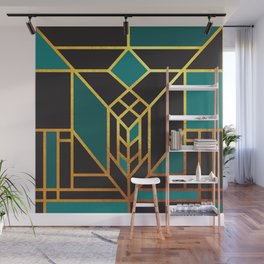 Art Deco Leaving A Puzzle In Turquoise Wall Mural