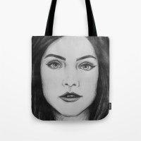 jenna kutcher Tote Bags featuring Jenna Coleman biro portrait by Eleanor Dapre