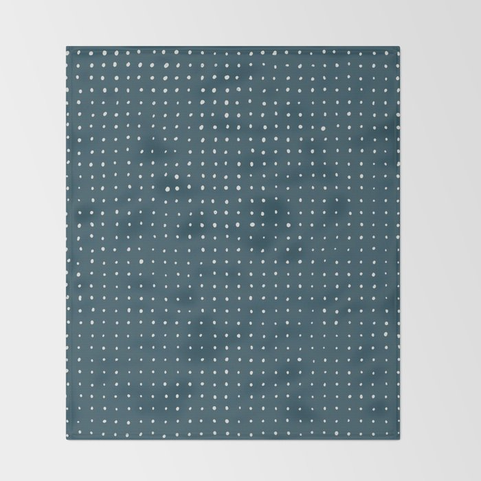 Hand Drawn Dots on Dark Teal Throw Blanket