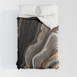 Elegant black marble with gold and copper veins Duvet Cover