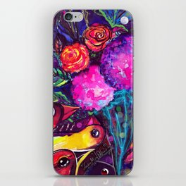 CRAZY BIRDS AND CRAZY FLOWERS iPhone Skin
