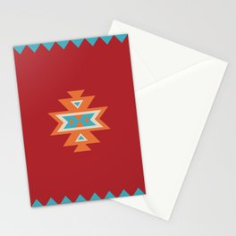 Navajo Aztec Pattern Orange Turquoise on Red Stationery Cards