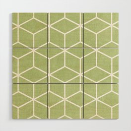 Lime Green and White - Geometric Textured Cube Design Wood Wall Art