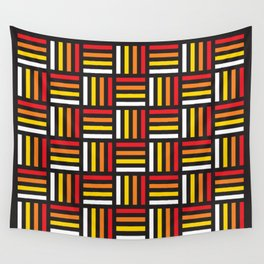 Geometric Pattern #166 (red yellow stripes) Wall Tapestry