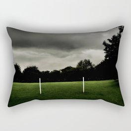 Football goalposts in an empty field Rectangular Pillow