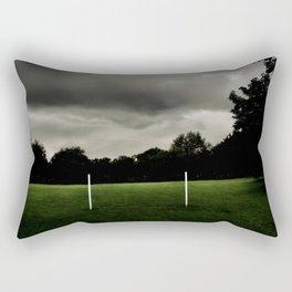 Football goalposts in an empty field Rectangular Pillow