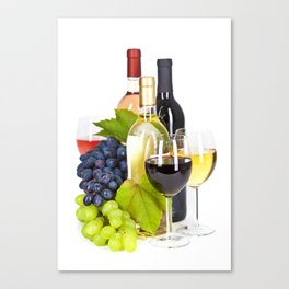 Fresh grape  and wine isolated on white Canvas Print